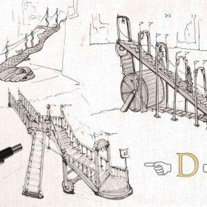 Schetsen van een leentrap zoals die in Djizary gebruikt wordt