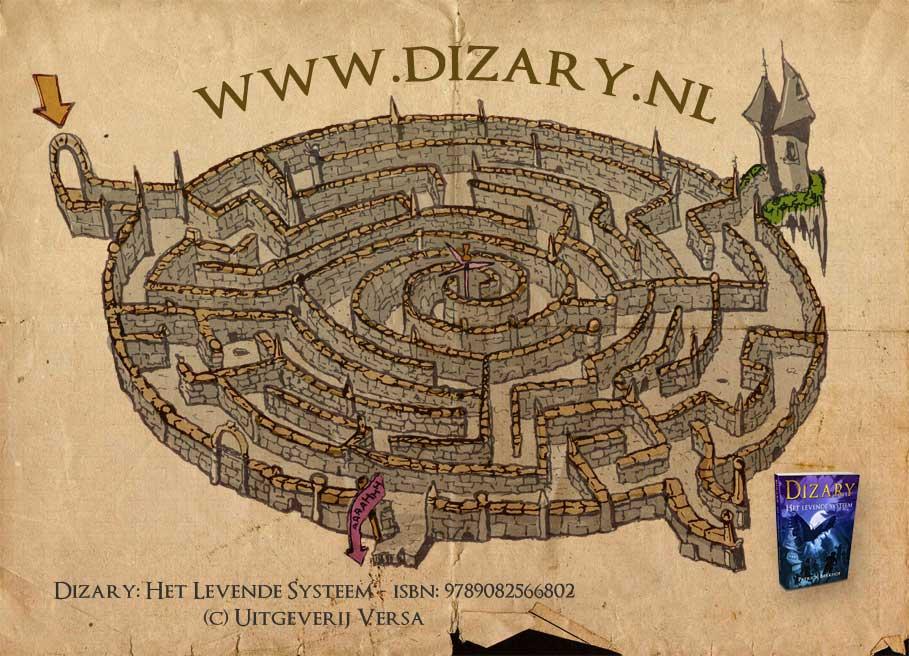 Dizary promotie kaart schets Patrick Berkhof labyrinth maze labyrint doolhof fantasy art fantastic art