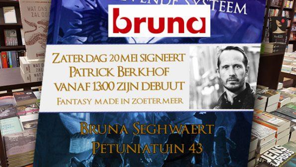 Patrick Berkhof signeert bij boekhandel Bruna Seghwaert in Zoetermeer