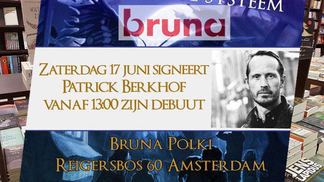patrick berkhof signeert zijn boek Dizary bij broekhandel Bruna Polki in Amsterdam