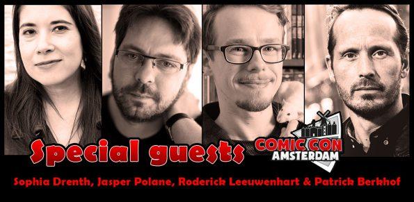 special guests tijdens de comic con amsterdam rai, sophia drenth, jasper polane, roderick leeuwenhart, patrick berkhof kerkhof