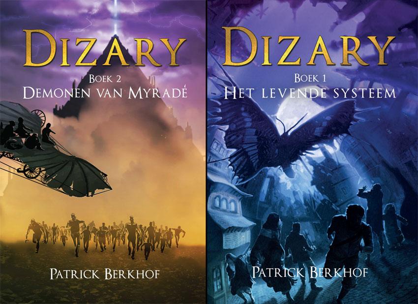 Cover van Dizary boek 1 en boek 2 naast elkaar om te vergelijken