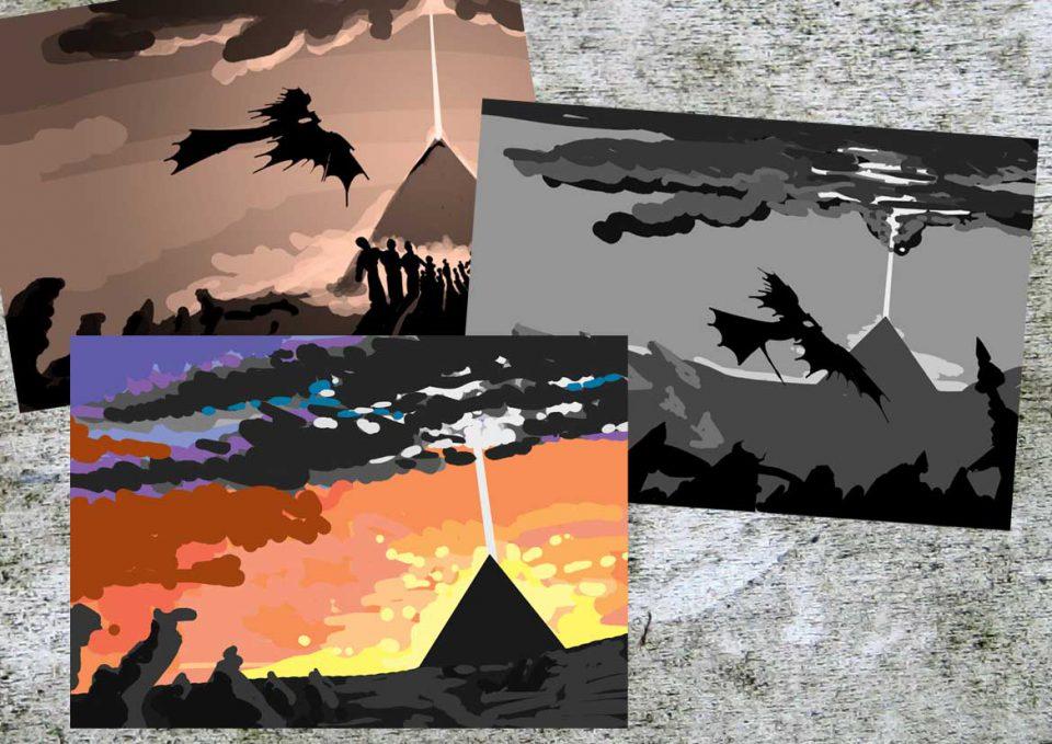 Schetsen voor de cover van Dizary boek 2 Demonen van Myradé. Door Patrick Berkhof