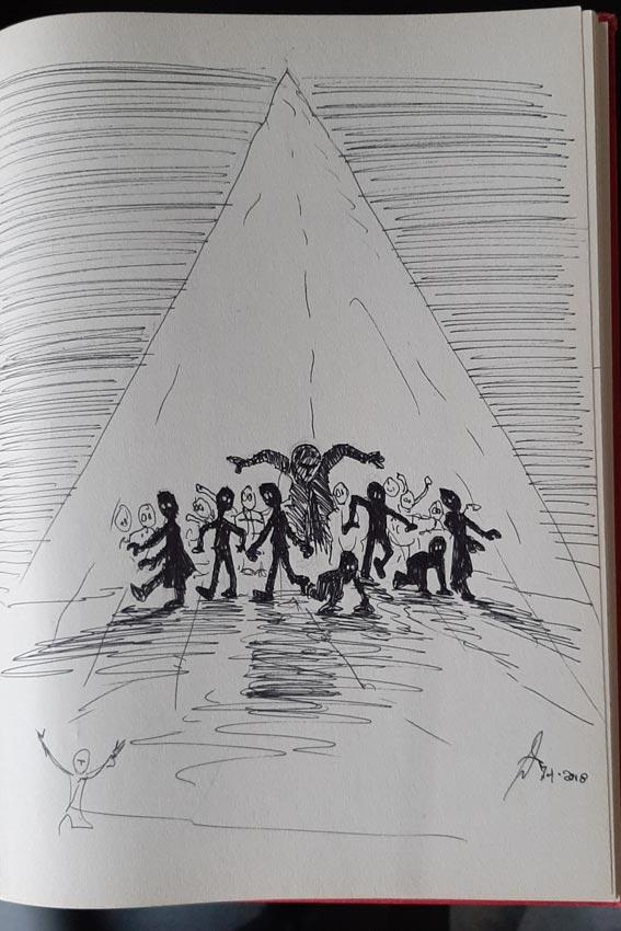 Eerste schets voor de cover van Dizary boek 2 Demonen van Myradé. Door Patrick Berkhof