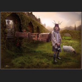 illustratie, illustration, traveler, reiziger, reis, fantasy, steampunk, journey, sunset