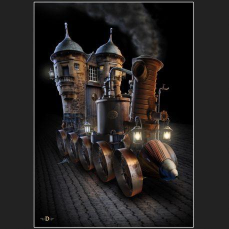 steampunk, steam punk, castle, verhicle, stoomrijder, stoomvoertuig