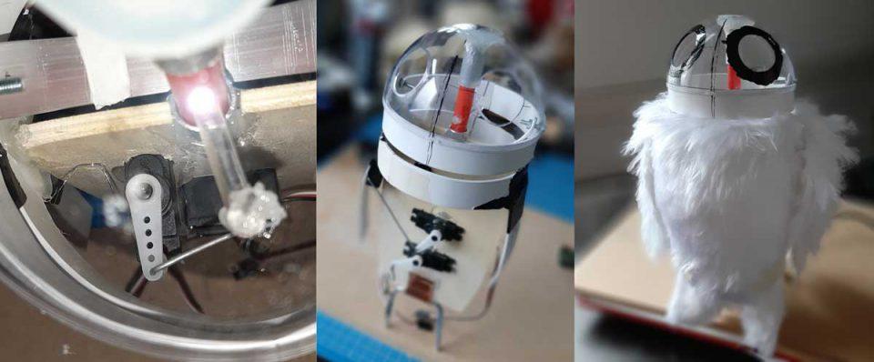 Animatronic robot owl, using pololu micro maestro servo control, puppet, muppet
