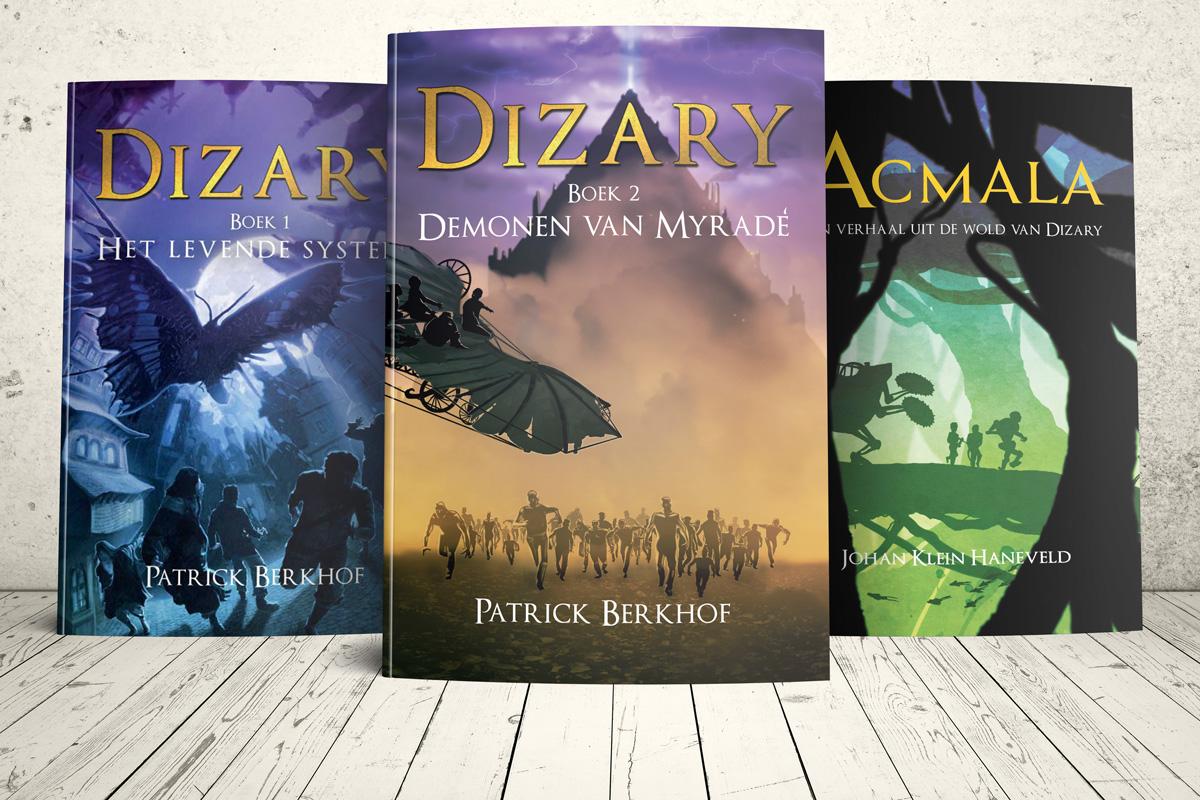 Dit zijn de fantasy young adult boeken uit de wereld van Dizary. Patrick Berkhof, Johan Klein Haneveld en Jasper Polane